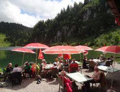Restaurant du lac des Chavonnes à Villars-sur-Ollon (VD) Swiss Travel, Switzerland, Skiing, Restaurant, Patio, Outdoor Decor, Terraces, Landscape, Ski