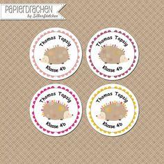 Aufkleber & Etiketten - 24 Aufkleber Namenssticker Schule (Set 13) - ein Designerstück von Papierdrachen bei DaWanda