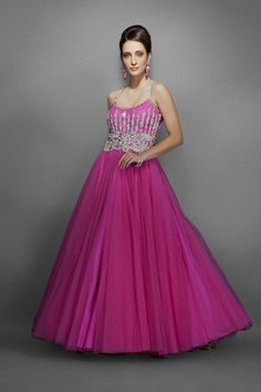 Pink halter gown with intricate silver embroidery and net & silk flair-Front