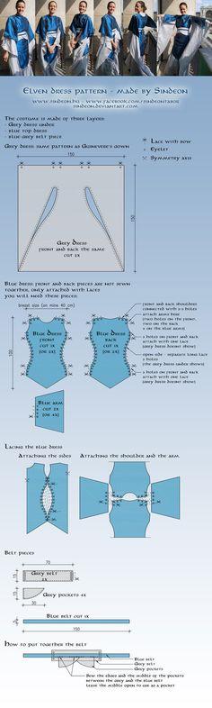 Elven dress pattern and tutorial by ~Sindeon on deviantART