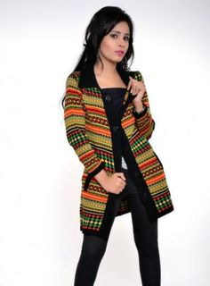 Madrona Black #knitted #coat with multi color stripes