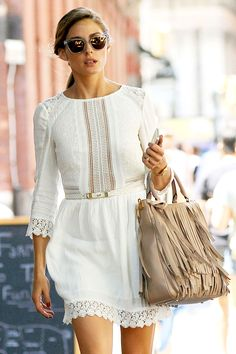 Olivia Palermo Keeps Cool In A White Broderie Anglaise Sleeved Dress Out And About In New York, 2014