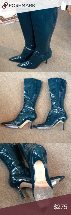 "Authentic Jimmy Choo Boots Pre loved authentic dark green patent leather knee high boots. 4"" stiletto heel. Back zip with gold zipper pull. Signature stamped leather sole with toe grip. Some scuffing and small discoloration (as shown). Jimmy Choo Shoes Heeled Boots"