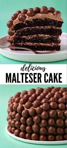 Everyone will love this gorgeous four layer Malteser Cake Deliciously soft chocolate cake topped with creamy milk chocolate buttercream and covered in Malteser chocolates. Easy Cakes To Make, How To Make Cake, Best Cake Recipes, Dessert Recipes, Desserts, Easter Recipes, Favorite Recipes, Maltesers Chocolate, Chocolate Malt Cake