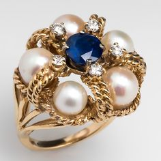 Vintage Sapphire & Pearl Cocktail Ring w/ Diamond Accents 14K Gold