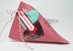 Sour Cream Valentine's Day Treat Favor; Stampin' Up! Fresh prints dsp stack, full heart punch, chevron embossing folder