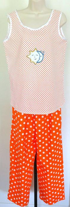Women's Pajama Set  ELLA Style  Twopiece Ladies Nightwear by PajamasNmore  #embroidery #orange #polkadots
