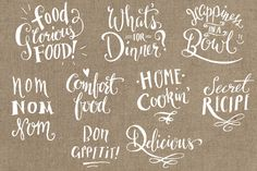 Glam up your food photos with these sweet lettering overlays! They're sure to make your blog, magazine layout, or portfolio sparkle :)