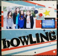 Bowling, by Laura Vegas; love how she used OA's Rocket Age collection for this LO.