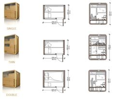 habitaciones de hotel life-of-an-architecture-student: Sleepbox should be mandatory in every architecture studio. Box Architecture, Cultural Architecture, Sleep Box, Hotel Floor Plan, Capsule Hotel, Tiny House Design, Planer, House Plans, Cabin Plans