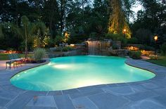 garden design, Circular Pool Design Outdoor With Sun Lounge And Daybed In Swimming Pool With Waterfall: 13 best swimming pool design ideas and construction in home
