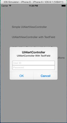UIAlertControllet with Login Form