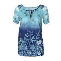 Kangrunmy Femmes Dentelle T-Shirt Manches Courtes Chemise Col V Impression Mode  Casual Tunique Chic Top Loose Chemisiers Elegant RéTro Vintage Blouse Haut  ... cdc83c673b4
