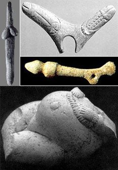Emergence of Civilization and Fall into Patriarchal Dominion. Above clockwise: Phallic batons from Dolni Vestonice, Gorge d'Enfer, St. Marcel. Below: Kostienki bound figurine.
