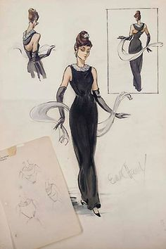 Edith Head sketch for Audrey Hepburn in Breakfast at Tiffany's