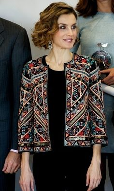 Queen Letizia of Spain recycles a gorgeous embroidered Zara jacket