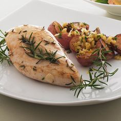 Chicken with Greek Potatoes - Our 1,350-calorie-a-day diet features foods that are great at stopping that famished feeling.