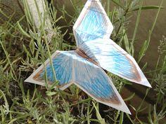 Origami Schmetterling mit Farbstift