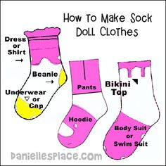 doll clothes Sock Crafts for Kids Sewing Barbie Clothes, Barbie Clothes Patterns, Baby Doll Clothes, Sewing Dolls, Doll Patterns, Diy Clothes For Dolls, Clothing Patterns, Barbie Et Ken, Barbie Dolls Diy