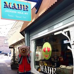 Spring may be on the way - we are starting to see bear in Gaslight Alley! . .  by @risamysunglasses & @jojostins #grizzly #gaslightalley #jacksonhole #boredatwork #employeegram #bear #bearontheloose #animalkingdom #shopsigns #displaywindow #windowart #gettowork