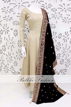 PalkhiFashion Designer Beige Pure Silk Outfit With Beautiful Velvet Duppta. Pakistani Dresses Casual, Indian Fashion Dresses, Indian Gowns Dresses, Dress Indian Style, Indian Designer Outfits, Indian Outfits, Indian Clothes, Designer Clothing, Designer Party Wear Dresses