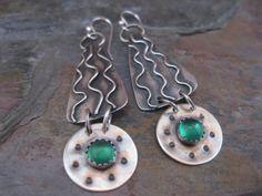 Swirl Earrings with Crystal Quartz & Green Onyx by StrawberryFrog