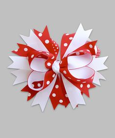Take a look at this Red & White Polka Dot Bow Clip by Under The Hooded Towels on #zulily today!
