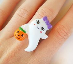 Kawaii Ghost Ring  Creepy Cute Jewelry  Cute by FrostedSoSweet #kawaii #ring