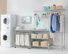 Change the way you use your laundry! Get the infrastructure to suit your space and the workflow right by utilising the extensive range of components from the easy-build range. This freestanding system is built from triple coated chrome and requires no tools to construct. Simple as that!  Available from Howards Storage World.