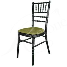 Black Chiavari Wedding Chair with Sage Green Seat Pad