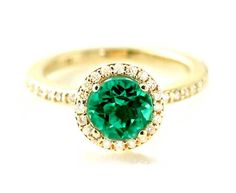 14K Emerald Ring Diamond Halo Setting Emerald Engagement Ring