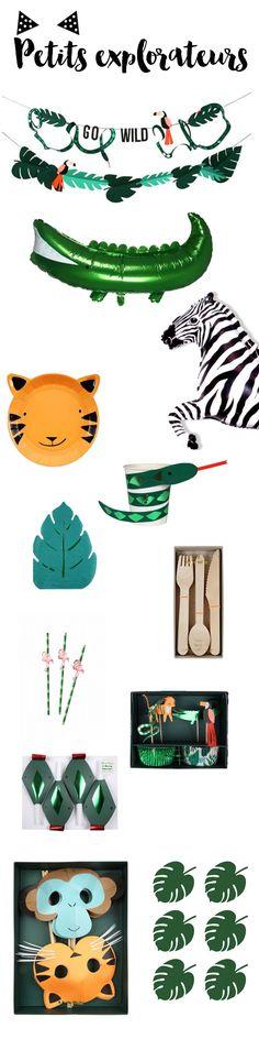 Sélection de vaisselle et d'accessoires pour un anniversaire autour de la jungle et de ses animaux, ambiance petits explorateurs. A retrouver sur la boutique www.rosecaramelle.fr #safari #jungle #jungleparty #aventure #anniversaire #birthday #tigre #zebre #deco #vaisselle #serpent #safariparty #annijungle #anniversairejungle #wildparty #fete #enfants