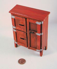 Antique oak wooden icebox, doors open or latch, insulated compartments. 1 to 12 scale dollhouse miniature. Handmade in USA.