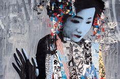 Hush es graffitero del Reino Unido que ha estado trabajando varios años en Japón como diseñador de juguetes. El artista sintetiza hábilmente su adoración por el street art, la estética y la imagen oriental de la belleza femenina.