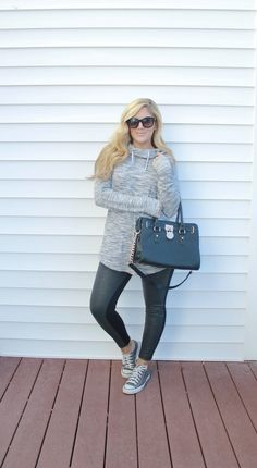 Outfitted411: Casual Friday...casual outfit, faux leather leggings, sweatshirt, converse sneakers