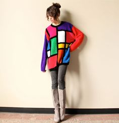 80s Color Block Sweater Mondrian chenille Pop by factoryhandbook, $60.00