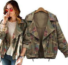 2015 nouvelles femmes army green camouflage vestes manteau zipper cardigans  denim vestes femmes manteaux d  e62708c1c604