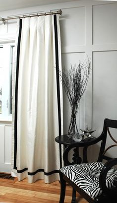 White curtains with black border all around - simple and classic!