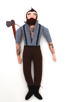 Lumberjack tattooed man doll plush beard