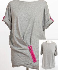 Из скучной мужской футболки мы можем сделать необычную женскую блузку с рукавами-фонариками.