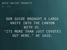 """Text: Our guide brought a large knife into the canyon with us. """"Its more than just coyotes out here,"""" he said. Daily Writing Prompts, Dialogue Prompts, Story Prompts, Writing Quotes, Writing Tips, Book Quotes, Book Prompts, Writing Challenge, Writing Corner"""