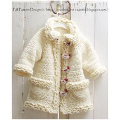 $10.54~Winter Coat with Bird-Buttons -Crochet Cardigan for Girls - PATTERN. €7.50, via Etsy.