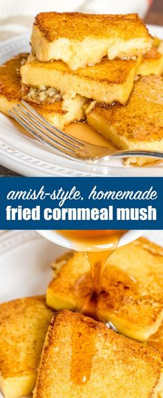 What to do with leftover cornmeal mush? Make this Amish style, homemade fried mush recipe, a delicious alternative to pancakes or waffles. Serve with maple syrup for a lightly sweet breakfast treat. Polenta Breakfast, Sweet Breakfast, Breakfast Dishes, Breakfast Recipes, Breakfast Ideas, Cornmeal Recipes, Polenta Recipes, Amish Recipes, Cooking Recipes