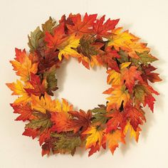 Bright Fall Foliage Wreath Autumn Harvest Leaf Maple Leaves Twig Door Decor for sale online Thanksgiving Wreaths, Autumn Wreaths, Wreath Fall, Deco Nature, Harvest Decorations, Pumpkin Lights, Fall Harvest, Autumn Leaves, Maple Leaves