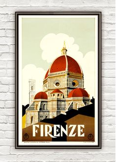 Vintage Poster of Florence Firenze Italy Italia  1930 Tourism poster travel on Etsy, $27.23 CAD