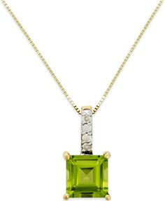 Peridot (1-3/4 ct. t.w.) and Diamond Accent Pendant Necklace in 14k Gold