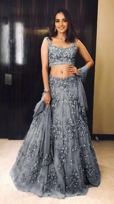 Excited to share this item from my shop: VeroniQ Trends-Bollywood Manushi Miss India inspired Heavy Lehenga Blouse in Grey Net With Embroidery,Pearl Work,Silver piping lace-VQ Lehenga Choli Designs, Lehenga Choli Online, Lengha Design, Designer Bridal Lehenga, Bridal Lehenga Choli, Net Lehenga, Lengha Choli Designer, Bollywood Lehenga, Lehenga Skirt