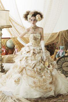 gold wedding dress stella libero - marie antoinette inspired rococo bridal collection