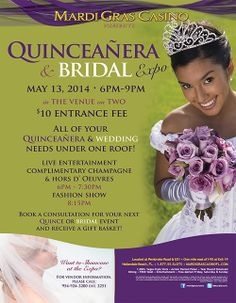 Wants to let you know about this NEW Venue Joining our family of satisfied vendors. Coming up on our No. 20 Edition In April 2014 Magnificent Ballrooms available. Plan your Quinceañera or Wedding or any other event under one roof! Quinceañera and Bridal Expo Tuesday May 13, 2014 from 6PM- 9PM Join us for an evening of fun at the Mardi Gras Casino Angel's Choreography and Anmar® Party Magazine will be there, mark your calendar and be there!!!