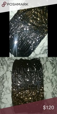 Sequin mini dress sexy evening lingerie dress Ombre , black- silver-gold -black. Size S/M . Worn once with a long sleeve cardigan and legging tights. Although its better as a mini tube dress, or lingerie dress. It's really flashy glitzy glam.  Pretty sure top/bottom is undistinguished,   u chose which is top/bottom. Dresses Mini
